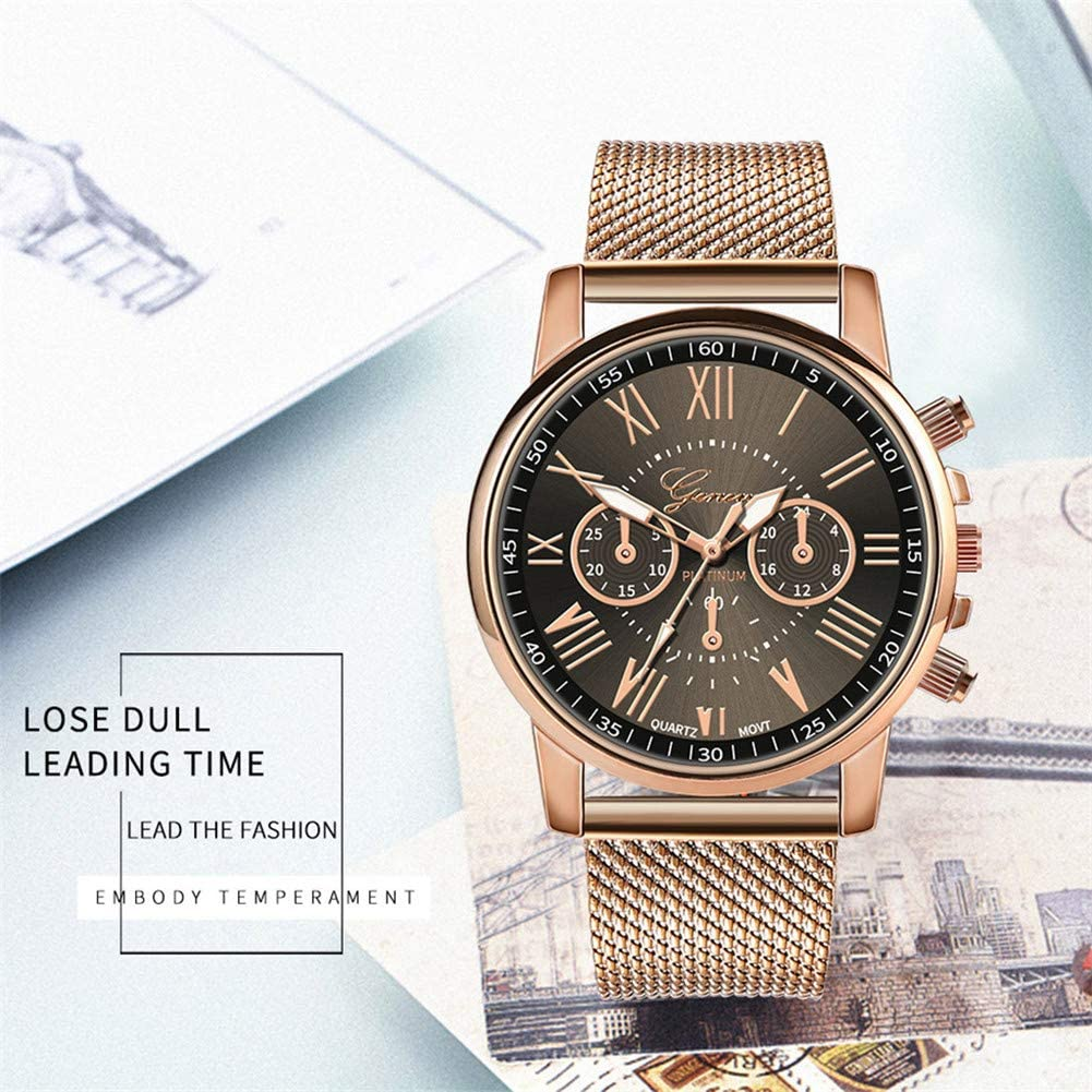 Womens Luxury Wristwatch,Quealent Womens Roman Numerals Stainless Steel Mesh Band Analog Quartz Watch Big Face Round Case Wristwatches for Girls