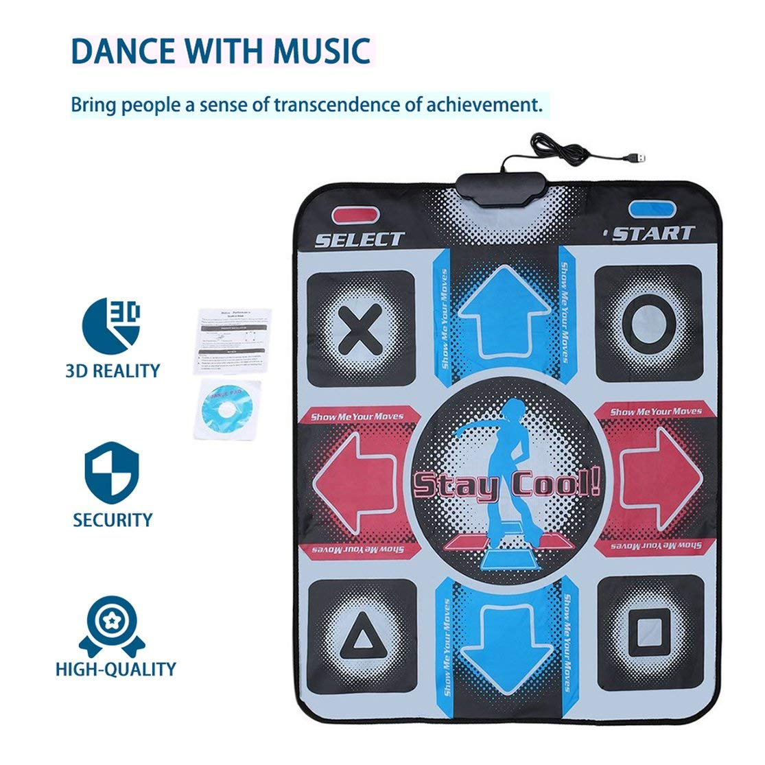 Quanna Non-Slip Durable Wear-Resistant Dancing Step Dance Mat Pad Pads Dancer Blanket to PC with USB for Bodybuilding Fitness