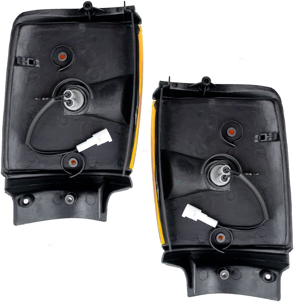 Driver and Passenger Park Clearance Lights Lamps with Black Trim Replacement for Toyota Pickup Truck 8162089162 8161089162
