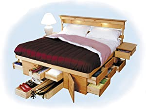 Anderson Ultimate Bed Made in USA 7-Piece All-in-one Extreme Space Saver Solid Wood Bedroom Set (Honey, Queen)