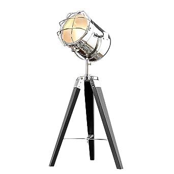 Vintage Stehleuchte TRIPOD Chrom Schwarz 65 Cm E14 Tischlampe Wohnzimmerlampe Stehlampe