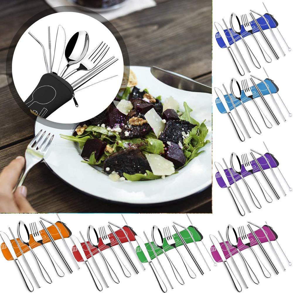 7CS M/énag/ères Assorties Acier Inoxydable Couverts deTable Camping Vaiselles Pique-Nique Fourchette+Couteau+Cuill/ère+Baguette+Paille Th/é Glac/é Vaisselles Cuisine Occidentale Orange, Taille Unique