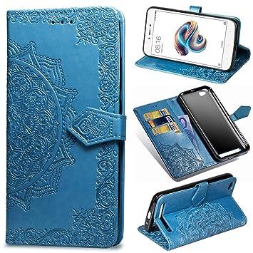 Funda para Xiaomi Redmi 5A, Carcasa Libro con Tapa Flip Case Antigolpes Golpes Cartera PU Cuero Suave Soporte con Correa Cordel - Mandala Azul