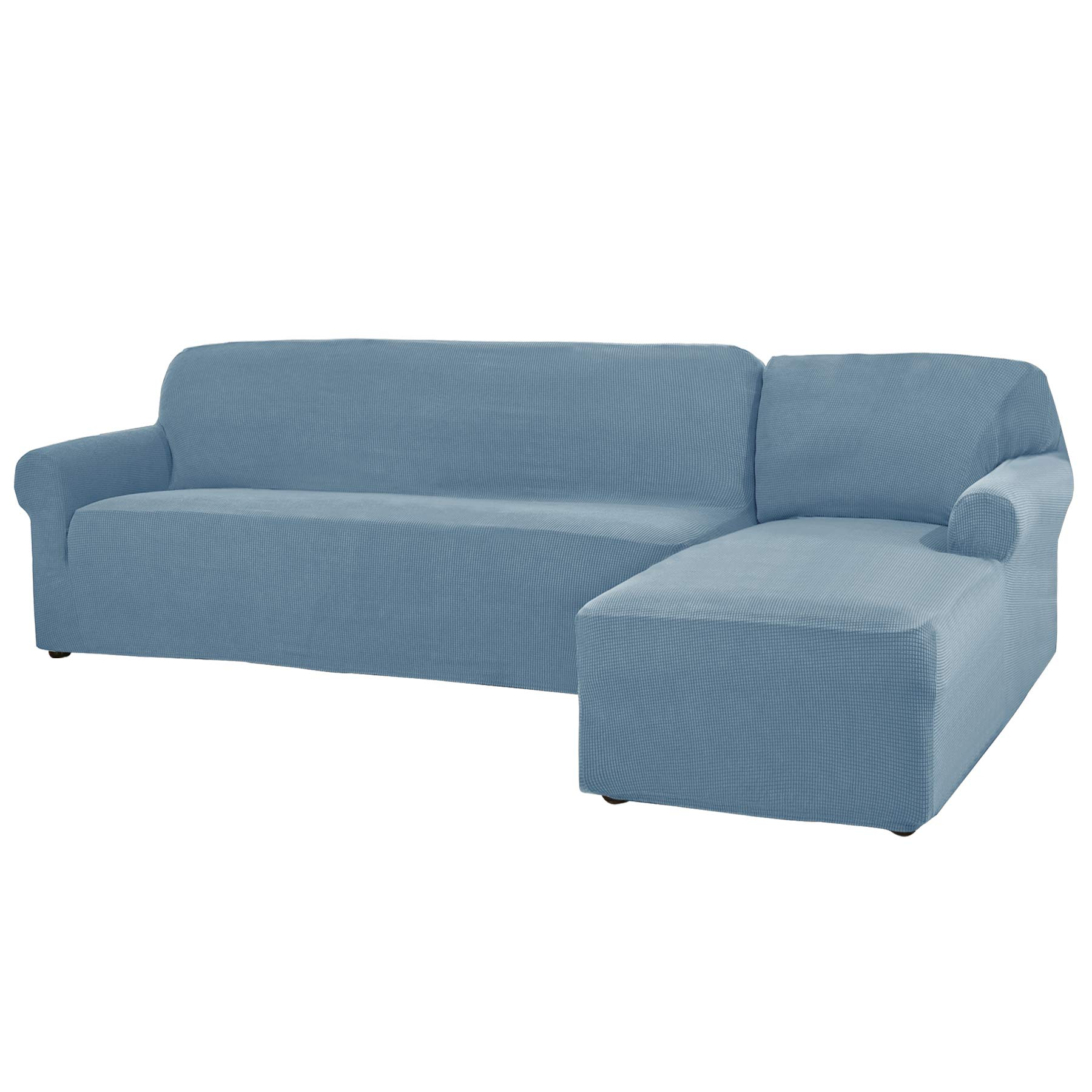 CHUN YI 2 Pieces L-Shaped 3 Seats Jacquard Polyester Stretch Fabric Sectional Sofa Slipcovers Dust-Proof L Shape Corner Sofa Cover Set for Living Room (Right Chaise(3 Seats), Smoky Blue) by CHUN YI