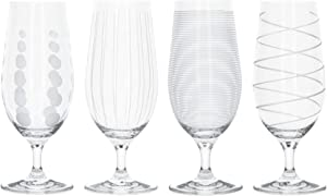 MIKASA 'Cheers' Beer Glasses/Craft Beer Glass Set with Decorative Etching, Crystal Glass, Silver Effect, 460 ml, Set of 4