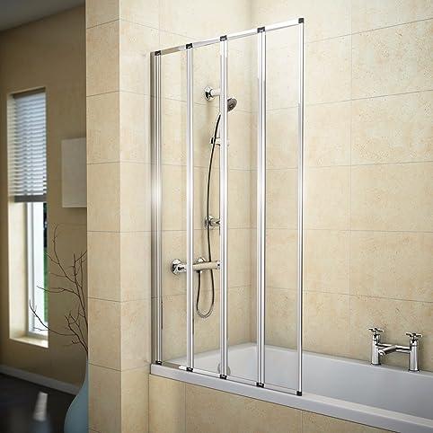 Amazon.com: 800x1400mm 4 Fold Folding Chrome Shower Bath Screen ...