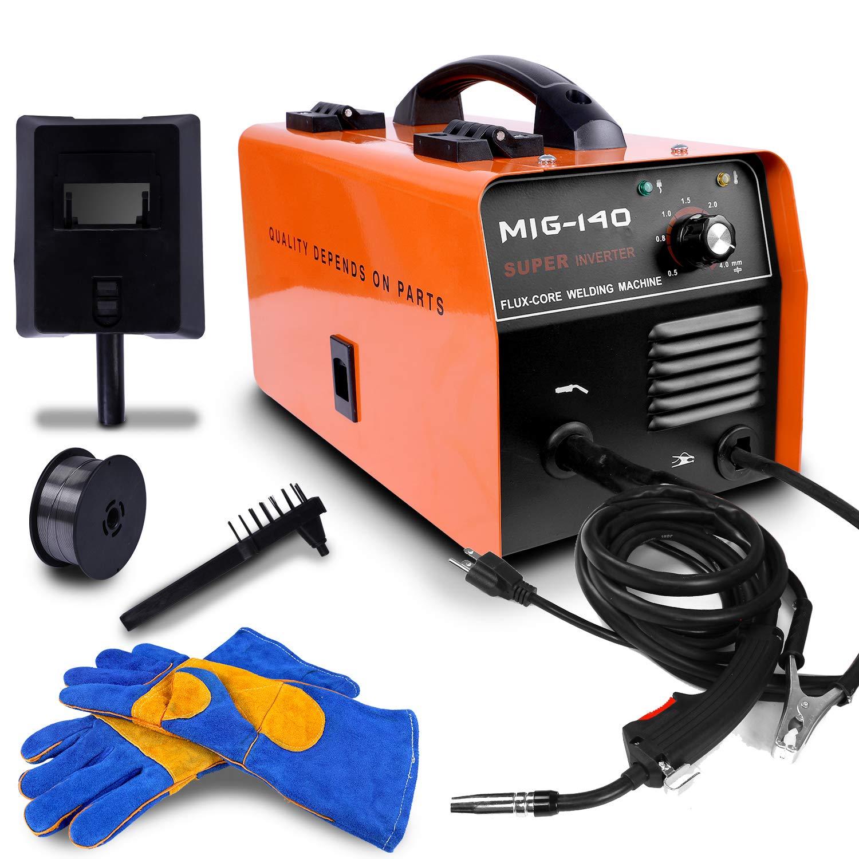 ETOSHA No Gas 140 MIG Welder 140Amp Flux Core Wire Gasless Automatic Feed Welder, Free Mask &welding gloves, 110V-Orange by ETOSHA