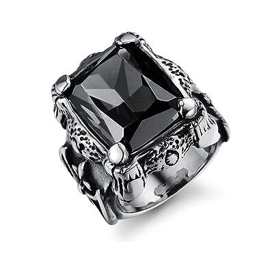 meilleur en ligne nouveau design hot-vente dernier Marwar Mens Rings Stainless Steel Black Natural Stone Finger ...