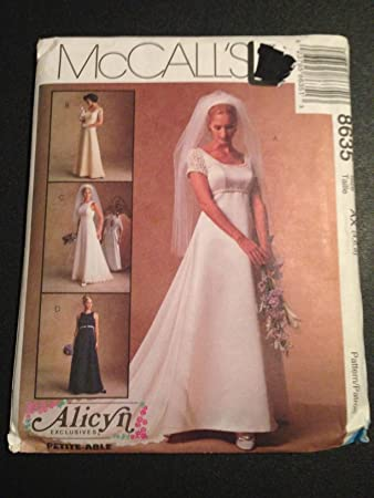 Amazon.com: McCall\'s 8635 Sewing Pattern, Misses\' Bridal Gown and ...