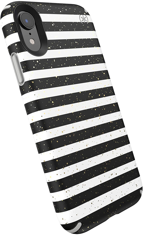 Speck Presidio Inked iPhone XR Case, Stripe Gold Specks/Marble Grey, 132093-8902, Gray