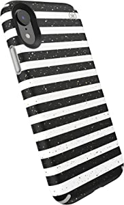 Speck Presidio Inked iPhone XR Case, Stripe Gold Specks/Marble Grey, 132093-8902, Gray