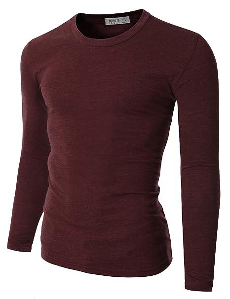 e6dde205 Doublju Mens Basic Crew Neck Long Sleeve Slim Fit T-shirts Brown 3XL