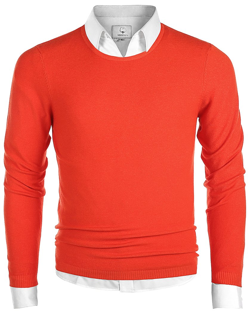MOCOTONO Men's Long Sleeve Crew Neck Pullover Knit Sweater Orange Medium