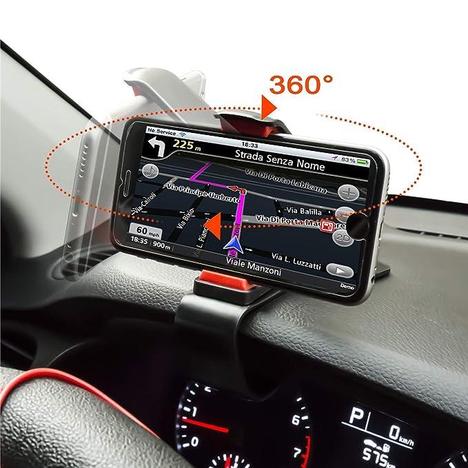 ZOORE Soporte Teléfono Coche para Salpicadero,360 HUD Soporte Móvil Coche GPS, Pinza Fuerte de Base Titular Móvil Vehícul Compatible iPhone ...