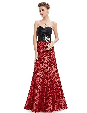 Strapless red evening dress