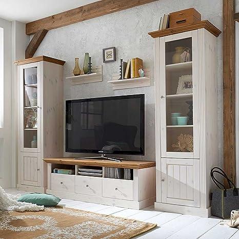 Pharao24 Wohnwand in Weiß Landhaus (3-teilig): Amazon.de ...