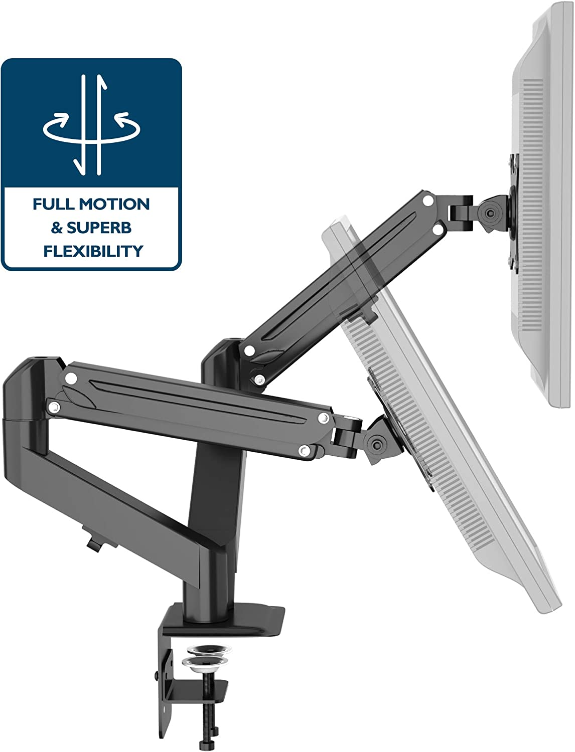 """Dual LCD Monitor Desk Clamp Mount Height Swivel Tilt Fully Adjustable Up to 27/"""""""