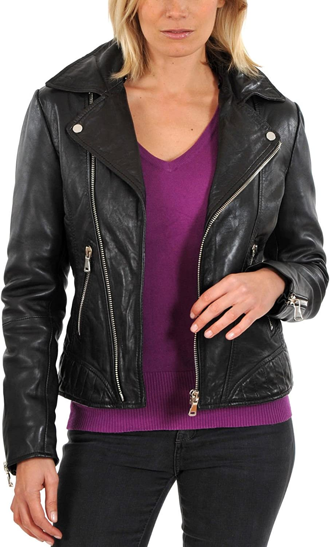 Naaz Leathers Womens Soft Lambskin Leather Bomber Biker Jacket Coat