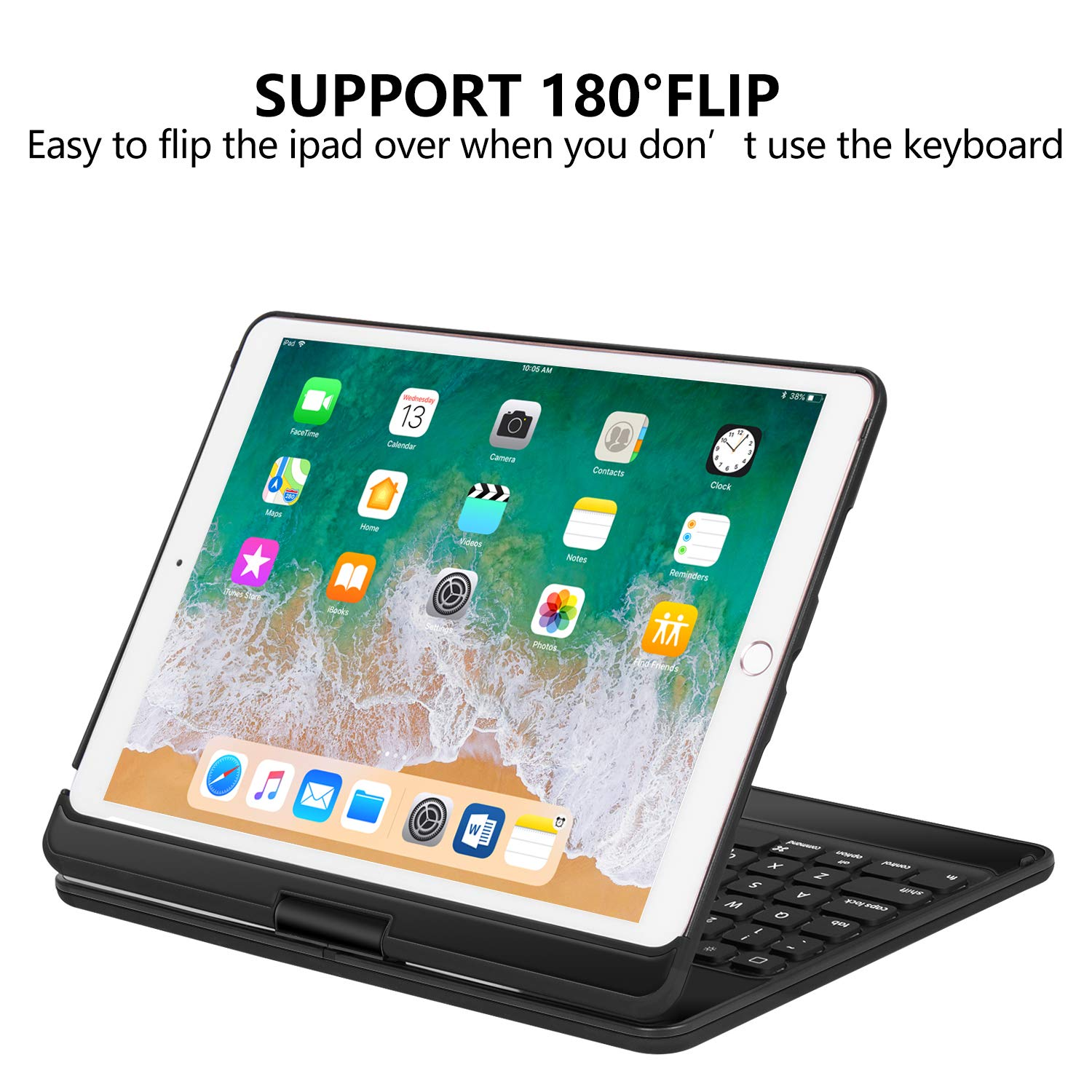 iPad Pro 10.5 Keyboard Case for iPad Pro 10.5 inch 2017 /iPad Air 10.5 (3rd Gen) 2019, 360 Rotate BT/Wireless Backlit Keyboard Case/Smart Auto Sleep-Wake Case/Ultra-Thin Keyboard Cover (Black) by Earto (Image #6)