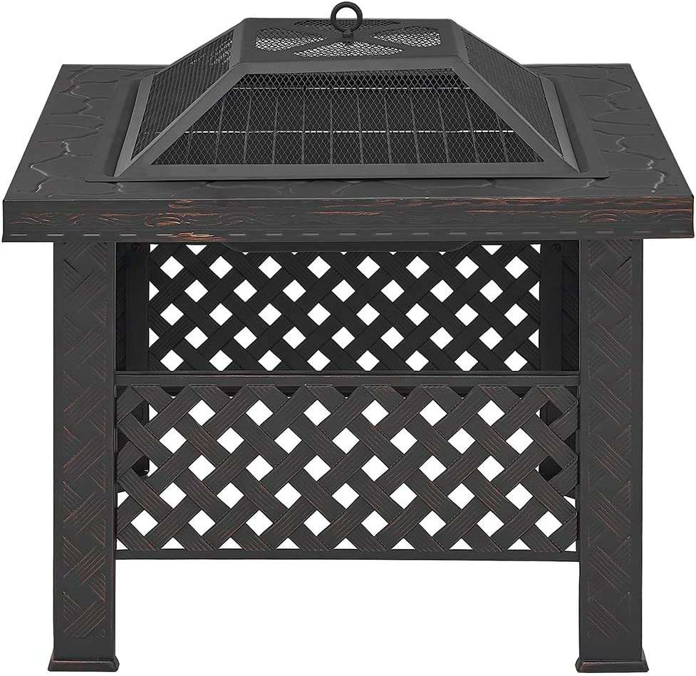 Barton 26'' Outdoor Fire Pits BBQ Square Firepit Table Patio Stove Wood Burning Fireplace Spark Screen Cover, Poker BBQ Grill : Garden & Outdoor