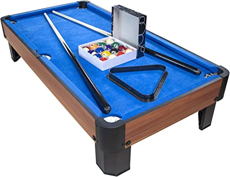 PLAY4FUN Mesa de Billar con Accesorios - Kit de Billar Compacto para Oficina o Sala de Juegos, 102 x 51 x 22.5 cm - Marrón con paño Azul: Amazon.es: Juguetes y juegos