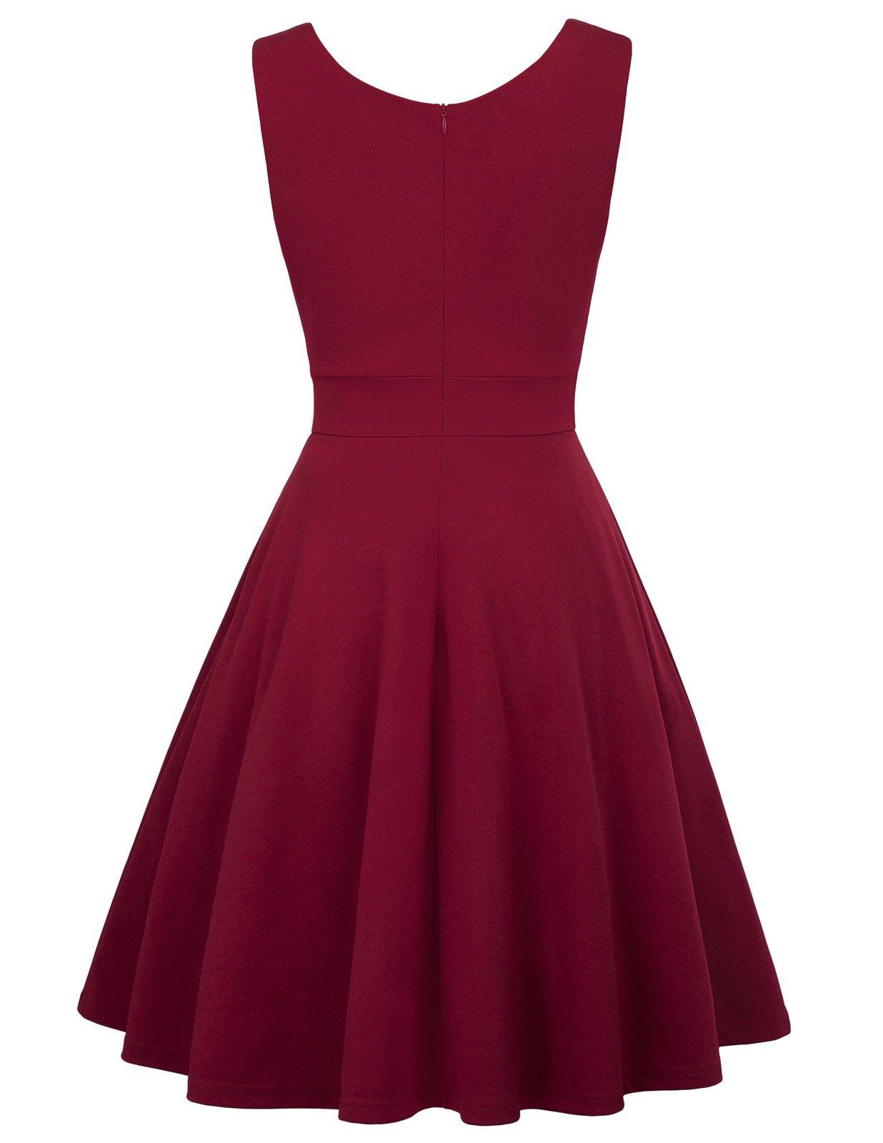 GRACE-KARIN-Womens-50s-60s-Vintage-Sleeveless-V-Neck-Cocktail-Swing-Dress