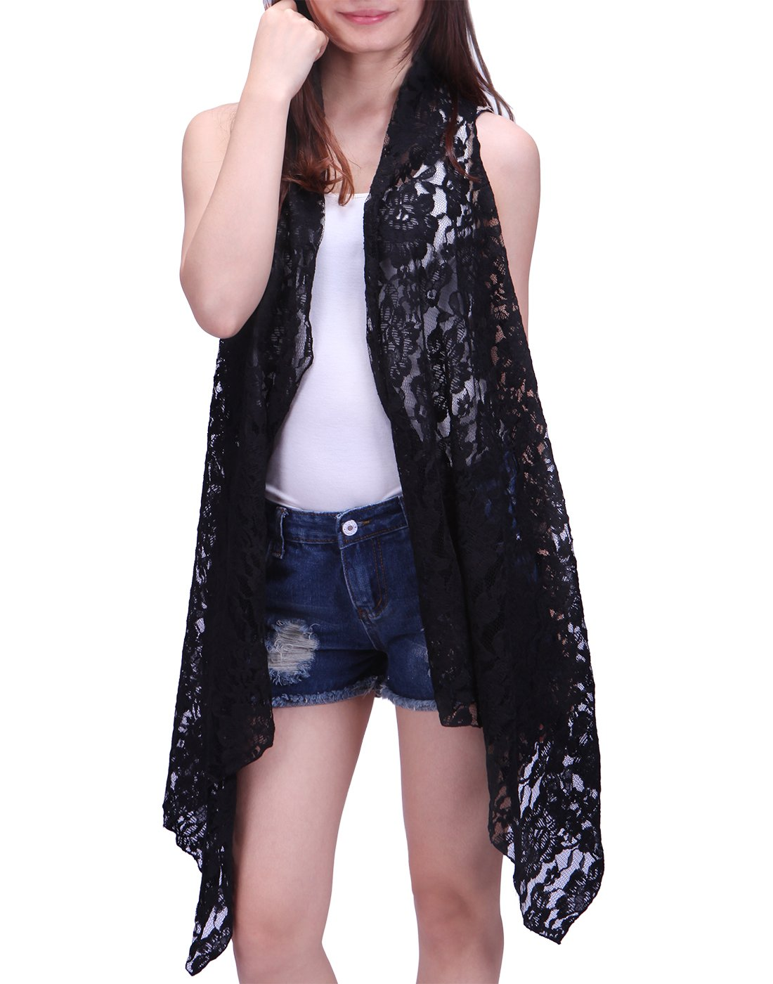 HDE Womens Open Front Lace Cardigan Sleeveless Asymmetric Drape Hem Vest Coverup (Black, XL-2X)