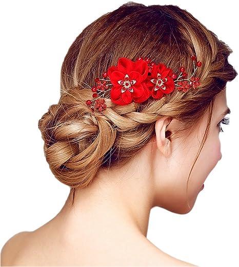 belle qualité Livraison gratuite dans le monde entier Nouvelle liste Peigne à Cheveux Rouge Décoratif de Fleurs Femme Epingle Cheveux Bijoux de  Tête en Strass Cristaux Perles pour Mariage Accessoire Chevelure