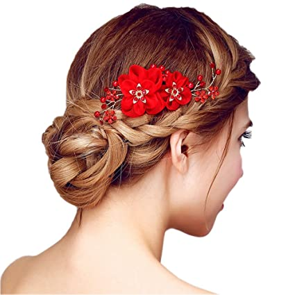 Peigne à Cheveux Rouge Décoratif de Fleurs Femme Epingle Cheveux Bijoux de  Tête en Strass Cristaux