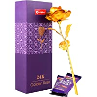 Archies® Golden Rose artificial flower 10 INCHES With Gift Box with Chocolate - mothers day Valentines day birthday friendship day wedding anniversary gifts for Him, Her, Husband, Wife, Father, Mother, Sister