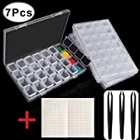 Outee 3 Pack 28 Grids Diamond Painting Box Diamond Storage Painting Diamond Accessories with 3 Pack Tweezers and 168 Pieces Craft Label Marker Sticker