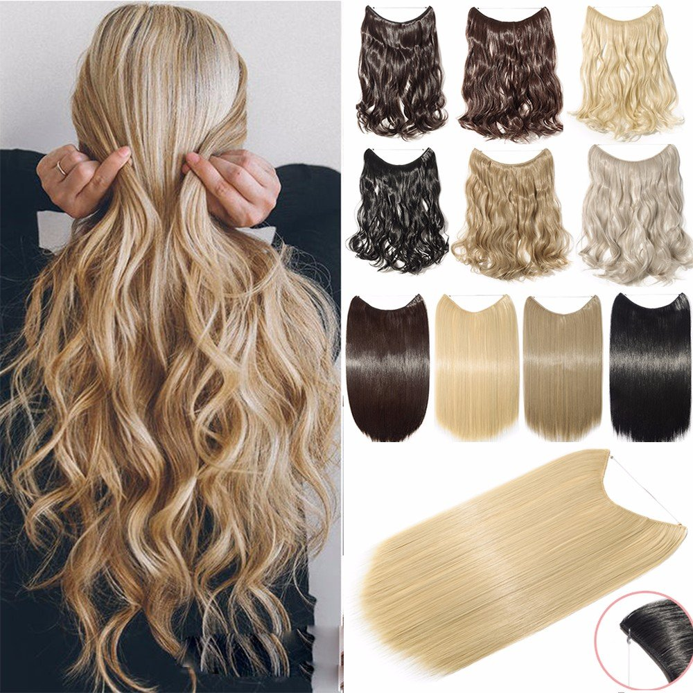 Hair Extensions 20 90G Invisible Wire No Clips in Full Head Hair Extension Secret Rubber Band Hairpieces Real Natural Human Made Synthetic Hair for Women 18/613(curly) S-noilite