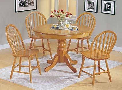 Amazon.com: 5pc Country Style Oak Finish Wood Round Dining ...