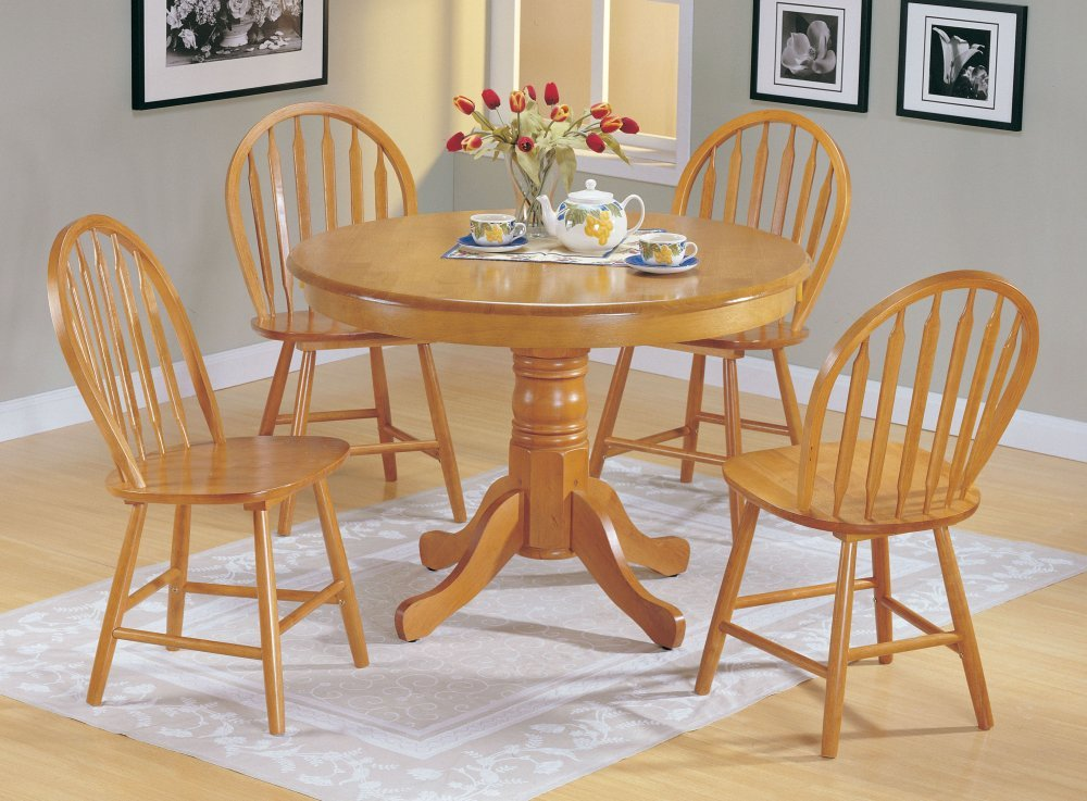 Amazon.com: 5pc Country Style Oak Finish Wood Round Dining Table +4 Windsor  Chair Set: Kitchen U0026 Dining