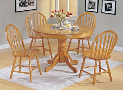 Beau 5pc Country Style Oak Finish Wood Round Dining Table +4 Windsor Chair Set