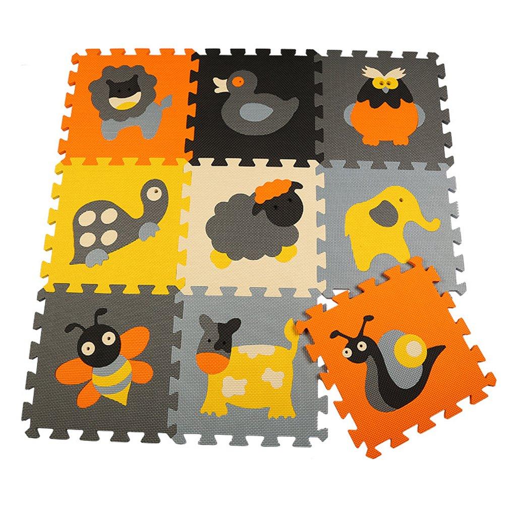 Menu Life P011 En mousse tapis de jeu Interlocking EVA Doux Jigsaw Tapis Puzzle En mousse Bébé Enfant Aire de jeux Mats Yoga d'exercice (30 x 30 x 1cm, 9pcs Jouer Mats Sans Clôtures) BaiLing