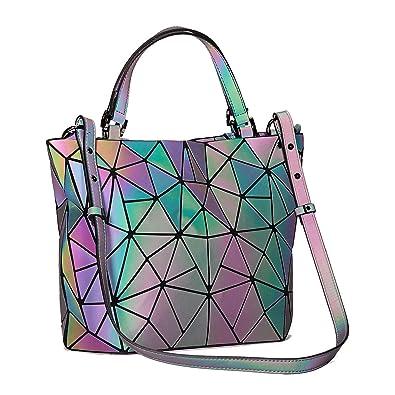 Amazon.com  Harlermoon Geometric Luminous Holographic Purses and Handbags  Flash Reflactive Tote for Women … (Handbag small)  Shoes f5fb6132f896a