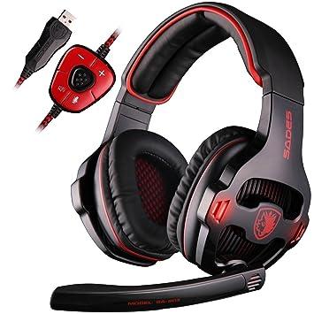 Sades sa903 USB 7.1 Surround Sonido Stereo Gaming Headset Auriculares para PC con micrófono, profundidad