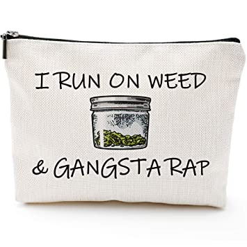 Amazon.com: Blue Leaves Makeup Bag, Marijuana Gift, Pot Gift ...