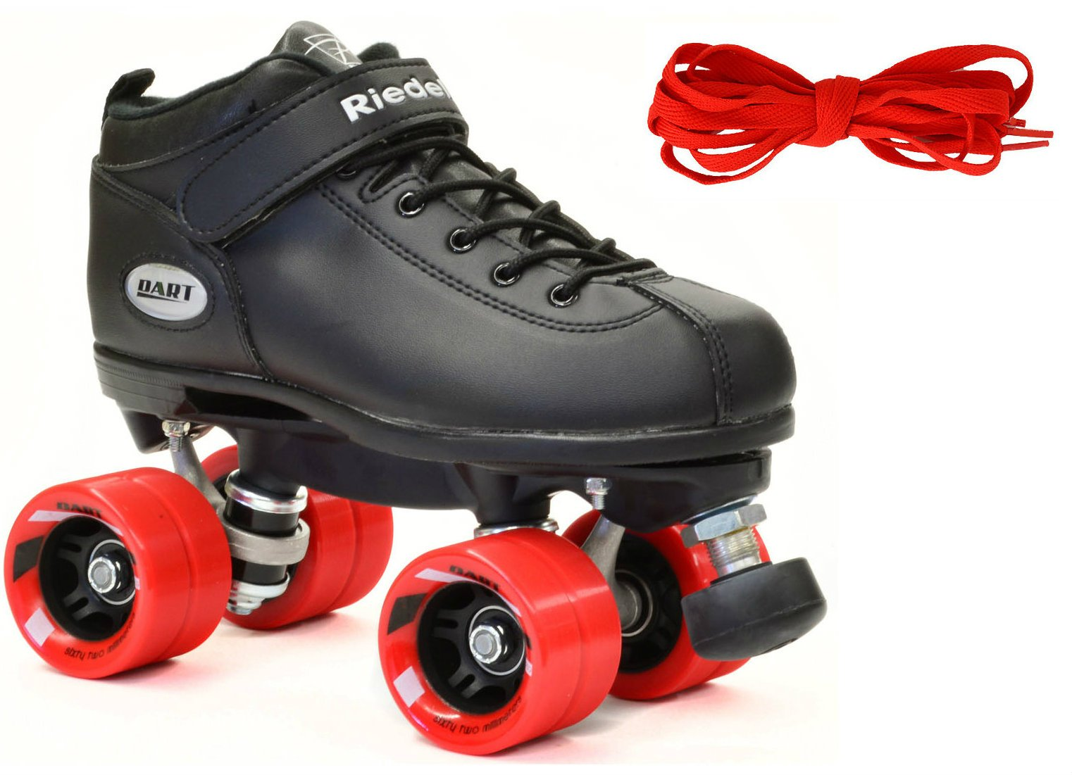 Riedell Black Dart Quad Speed Skates w/ Red Wheels & 2 Pair of Laces (Red & Black) (Kids 3) by Riedell