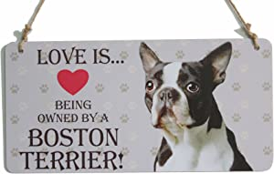 zhongfei Boston Terrier Sign (Love is Being Owned by A Boston Terrier) with A Little Heart Home Wall Decor (5
