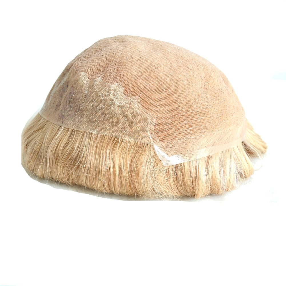 AIRAO Q6 Base Peluquín Pedazo De Cabello Protesis Capilar Pelucas De Hombre Nudos Blanqueados Aspecto Natural - Cabello Humano Indio #22R (Medium Blonde): ...