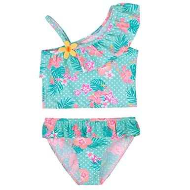 d58a6d6ff97f Amazon.com  Summer Baby Girl Swimsuit Set 1-8Years Flower Swimming ...