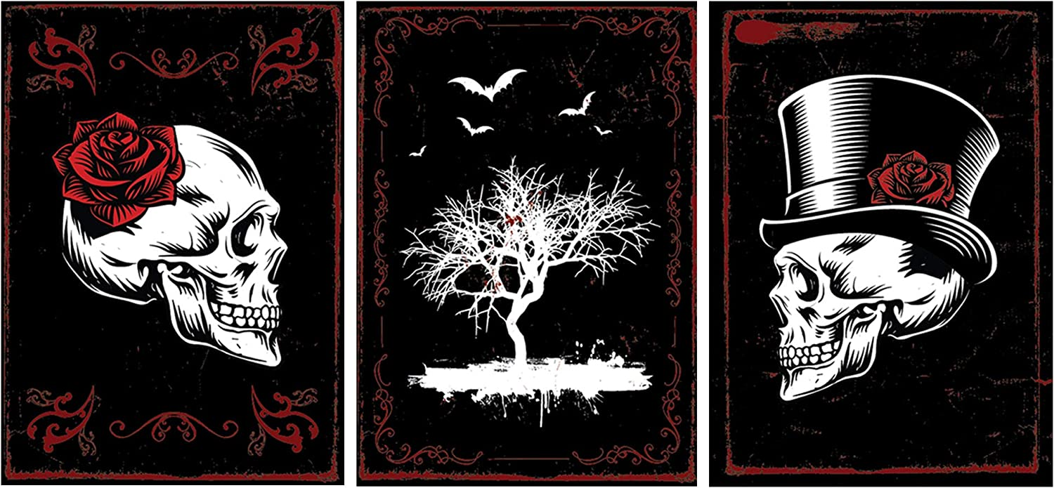"""SCENE: YOURSELF Gothic Decor, Skull Decor, Witch Decor, Halloween Decor, Witchy Room Decor, Spooky Decor, 11.7"""" x 16.5"""", Unframed, Paper, Matte Lamination, Set of 3 Goth, Bat Posters, Black"""