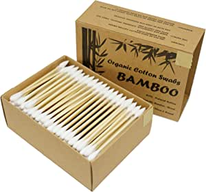 Two Tips I Bamboo Cotton Swabs I 200ct Biodegradable I Organic I Natural Cotton I Plastic Free I Ecological Choise to Reduce your Carbon Footprint