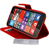 Etui Housse Luxe Rouge Stand & Portefeuille pour Nokia Lumia 1320 + STYLET et 3 FILMS OFFERTS !