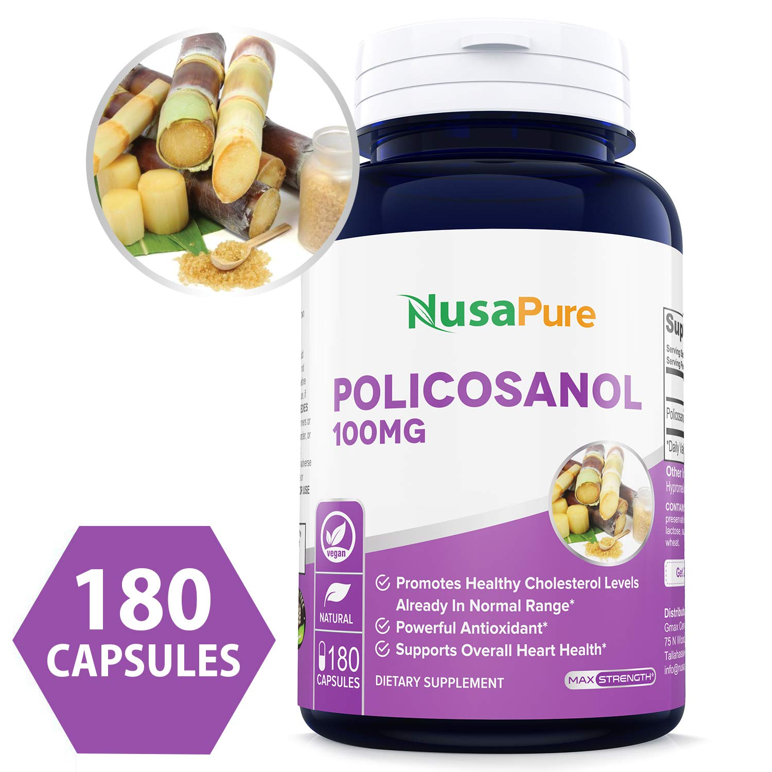 Policosanol 100mg 180 Veggie Capsules (Non-GMO & Gluten Free) Supports Lower Cholesterol, Supports Healthy Circulation - 50mg per Caps by NusaPure
