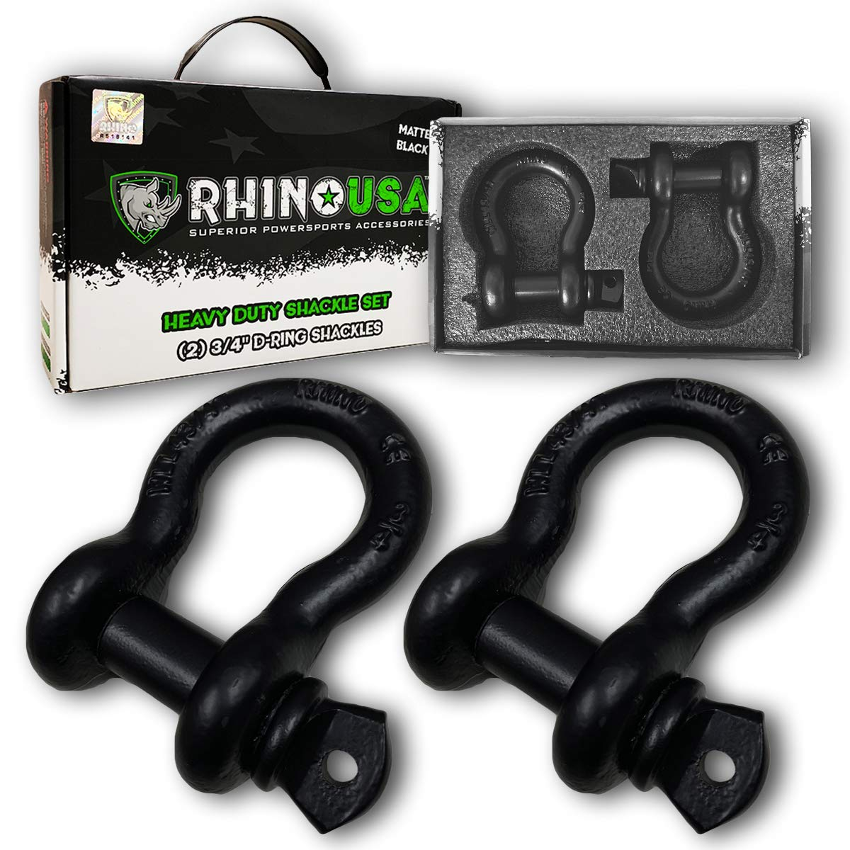 Rhino USA D Ring Shackle (2 Pack) 41,850lb Break Strength - 3/4'' Shackle with 7/8 Pin for use with Tow Strap, Winch, Off-Road Jeep Truck Vehicle Recovery, Best Offroad Towing Accessories (BLACK MATTE) by Rhino USA