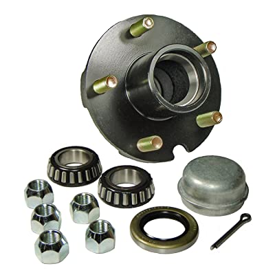 "Rigid Hitch Trailer Hub Kit (BT-150-04-A) 5 Bolt on 4-1/2"" Bolt Circle with 1 Inch I.D. Bearings: Sports & Outdoors [5Bkhe0104825]"