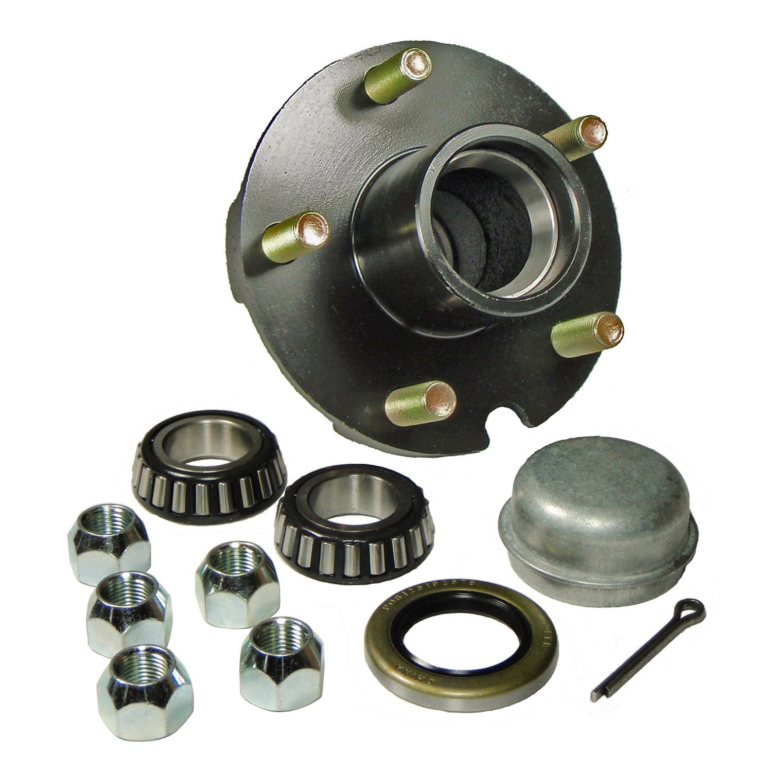 Rigid Hitch Trailer Hub Kit (BT-150-04-A) 5 Bolt on 4-1/2'' Bolt Circle with 1 Inch I.D. Bearings by Rigid Hitch